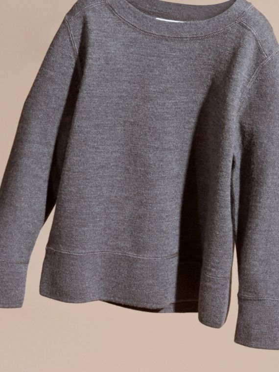 Check Elbow Patch Merino Wool Sweater in Mid Grey Melange | Burberry - cell image 2