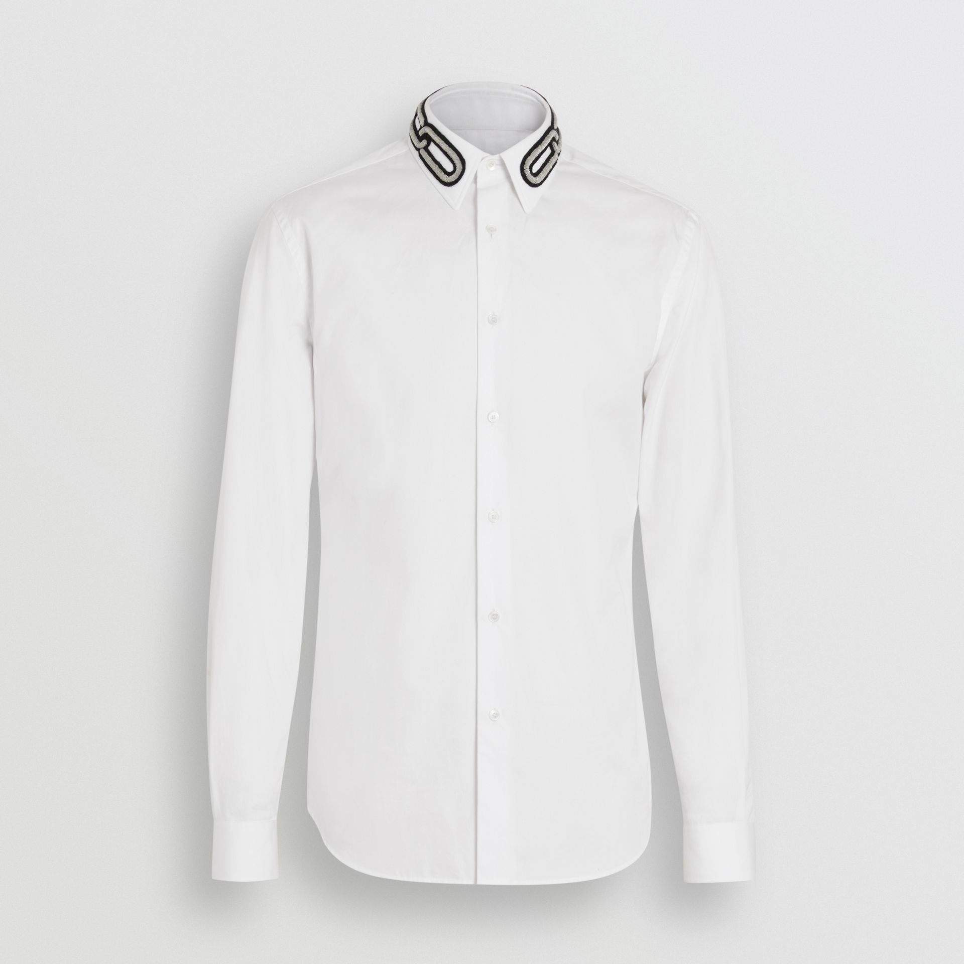Slim Fit Bullion Link Cotton Poplin Dress Shirt in White - Men | Burberry - gallery image 3