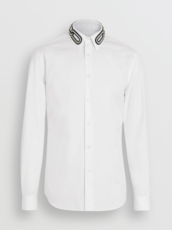 Slim Fit Bullion Link Cotton Poplin Dress Shirt in White - Men | Burberry - cell image 3