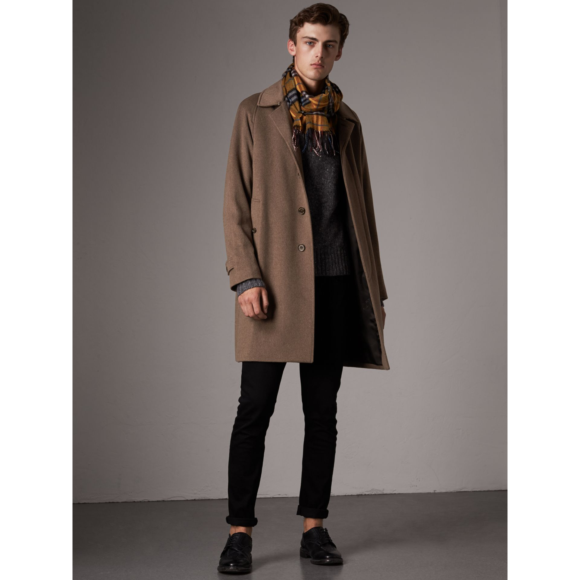 Cashmere Car Coat in Deep Taupe Melange - Men | Burberry Canada - gallery image 1