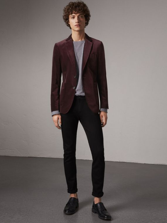 Soho Fit Velvet Tailored Jacket in Blackcurrant