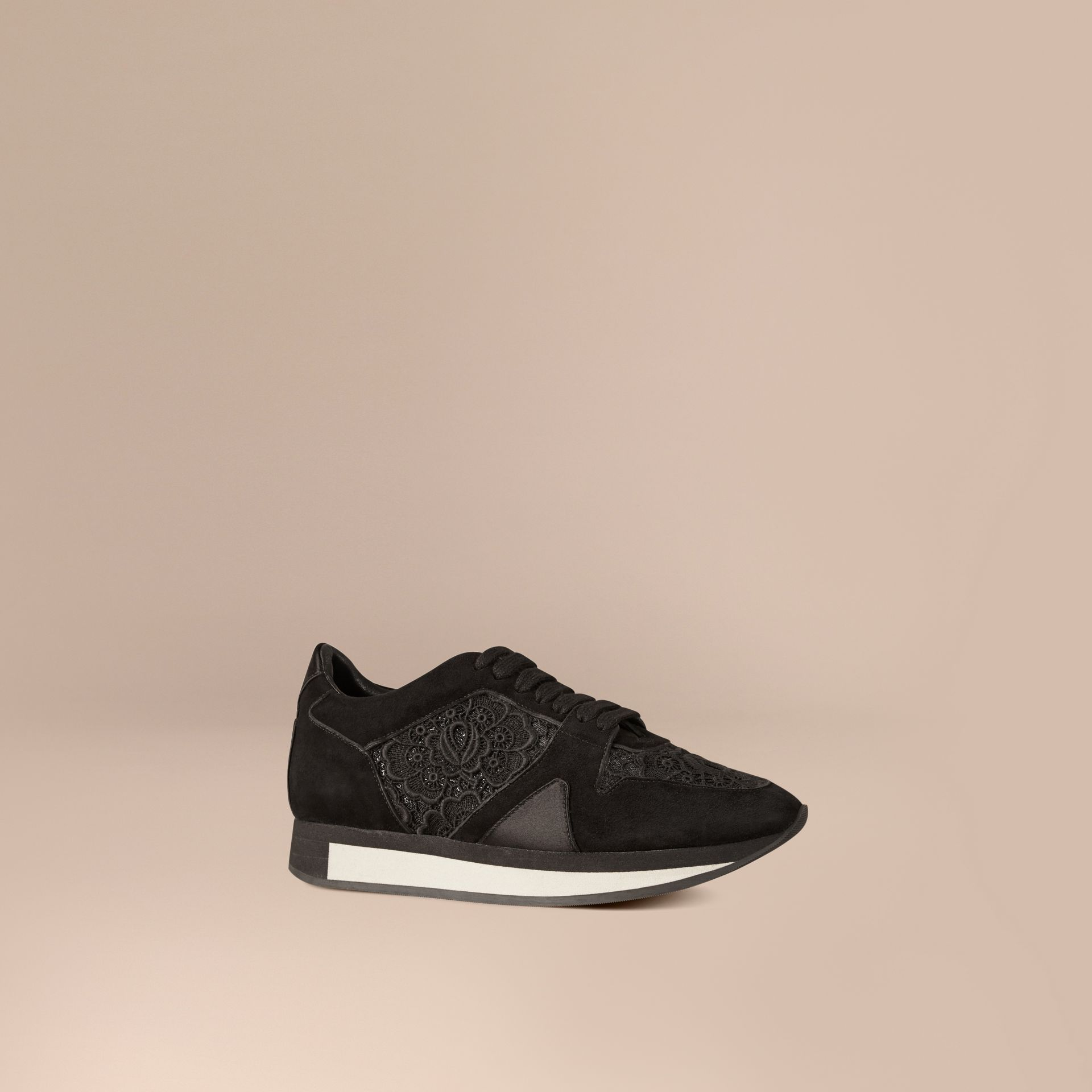 Black The Field Sneaker in Lace and Suede - gallery image 1