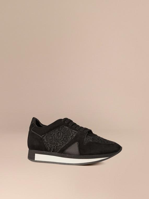 The Field Sneaker aus Spitze und Veloursleder