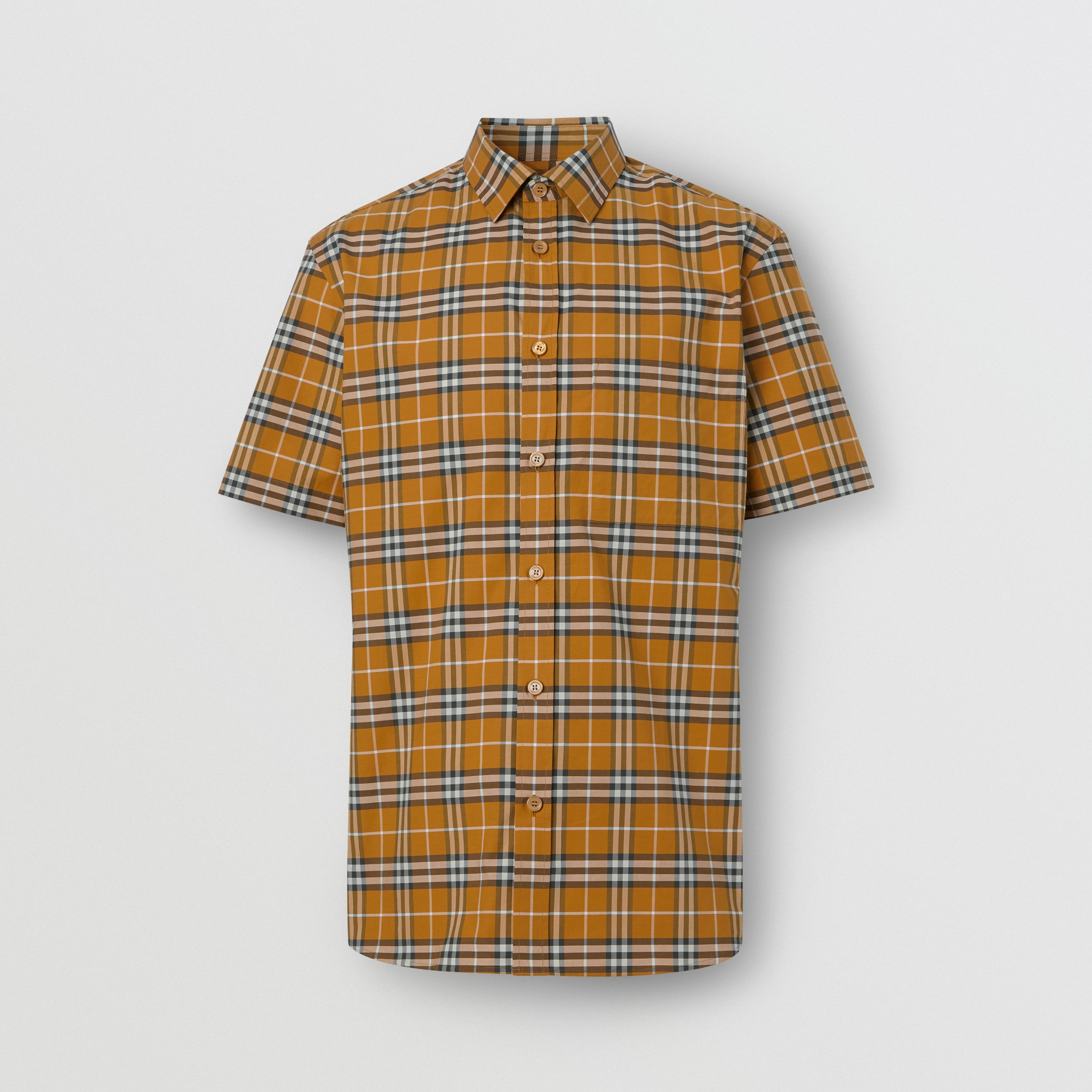 Short-sleeve Small Scale Check Stretch Cotton Shirt in Bright Toffee - Men | Burberry - 4