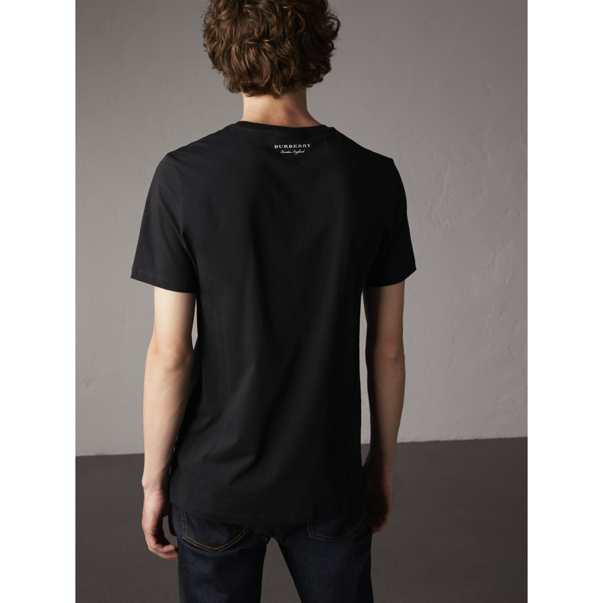 Beasts Jacquard Pocket Detail Cotton T-shirt in Black - Men | Burberry Australia - gallery image 3