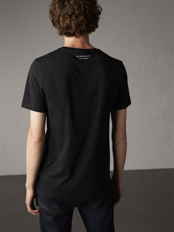 Beasts Jacquard Pocket Detail Cotton T-shirt in Black - Men | Burberry Australia - cell image 2