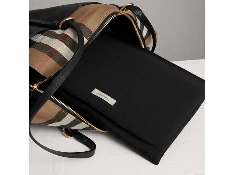House Check and Leather Baby Changing Bag in Black | Burberry United States - cell image 1