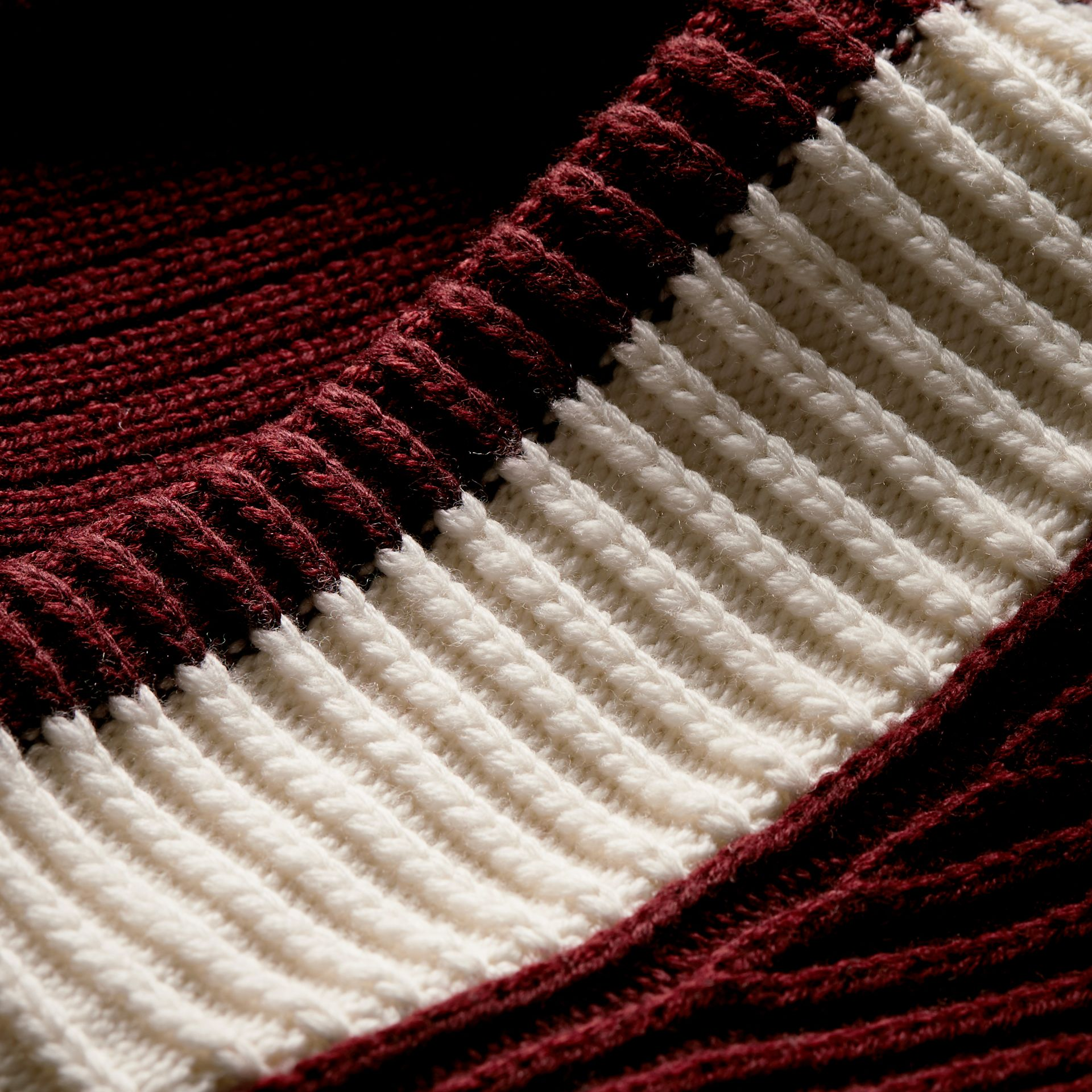 Deep burgundy/natural white Sports-striped Wool Sweater - gallery image 2