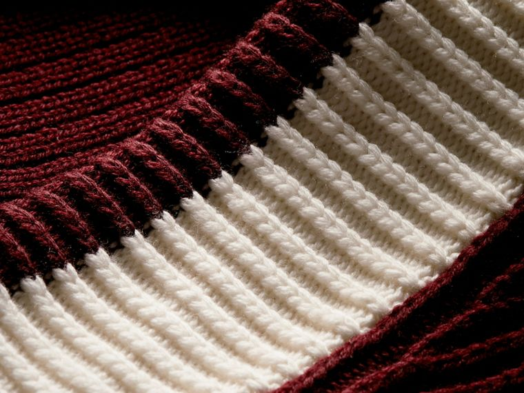 Deep burgundy/natural white Sports-striped Wool Sweater - cell image 1