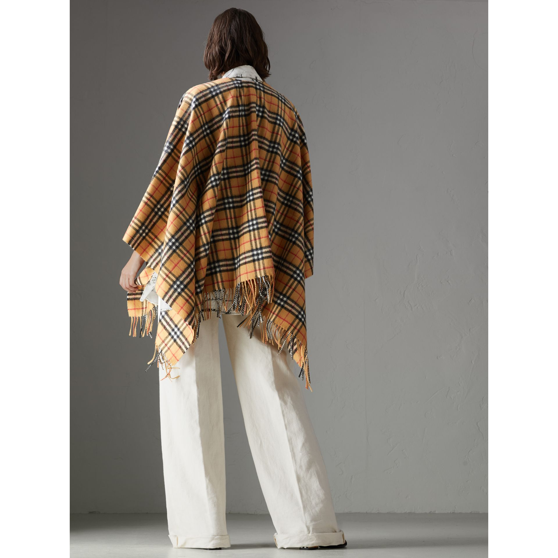 Vintage Check Cashmere Wool Poncho in Antique Yellow - Women | Burberry Hong Kong - gallery image 2