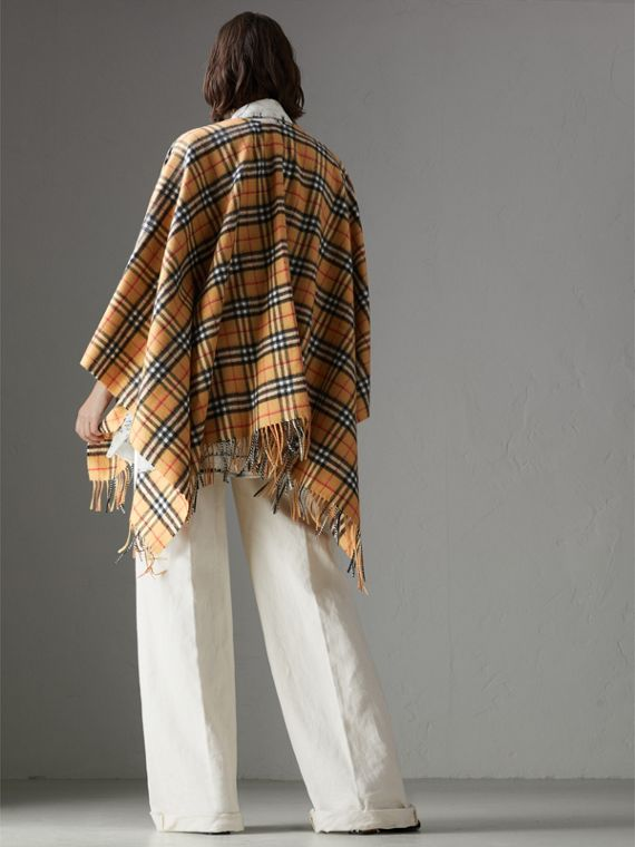 Vintage Check Cashmere Wool Poncho in Antique Yellow - Women | Burberry Hong Kong - cell image 2