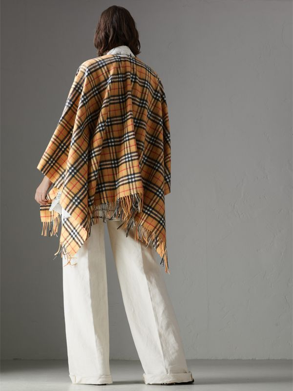 Vintage Check Cashmere Wool Poncho in Antique Yellow - Women | Burberry - cell image 2
