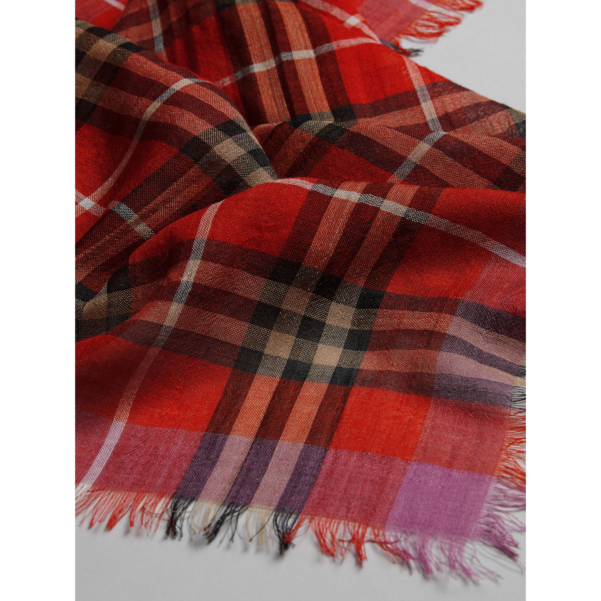 Lightweight Check Wool Silk Scarf in Bright Orange Red | Burberry - gallery image 1
