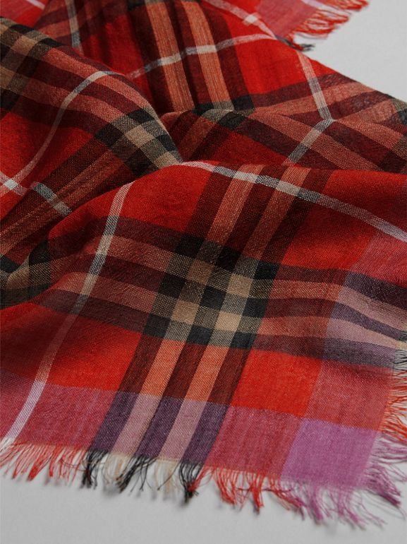 Lightweight Check Wool Silk Scarf in Bright Orange Red | Burberry - cell image 1