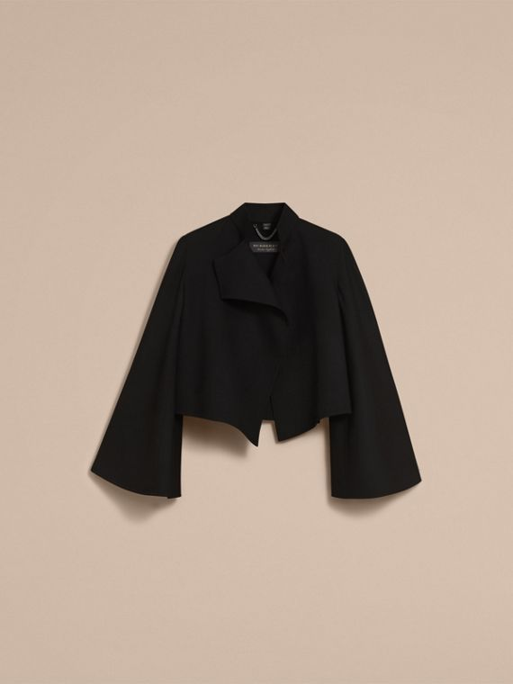 Bell-sleeve Double-faced Wool Cropped Jacket in Black - Women | Burberry - cell image 3