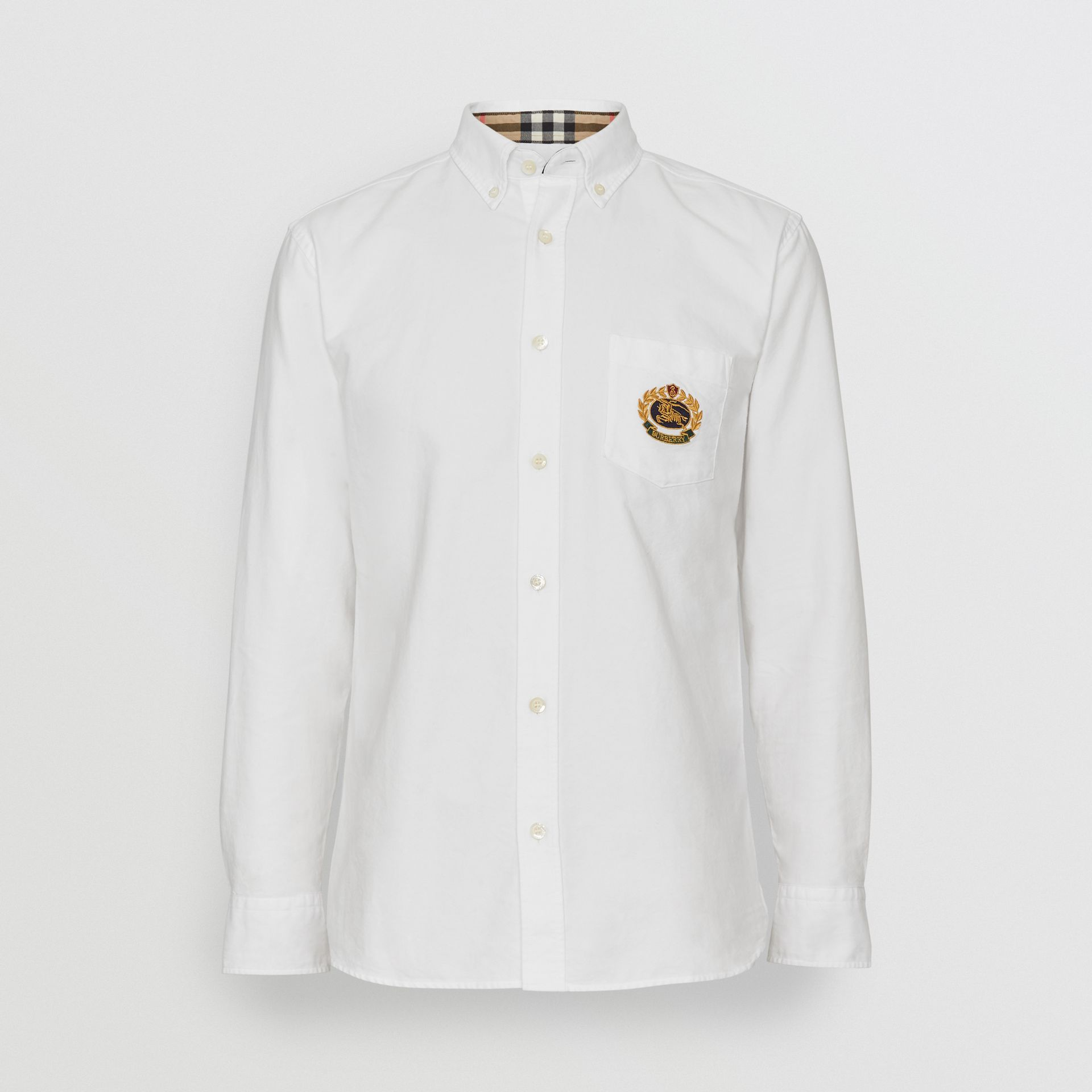 Embroidered Archive Logo Cotton Oxford Shirt in White - Men | Burberry - gallery image 3