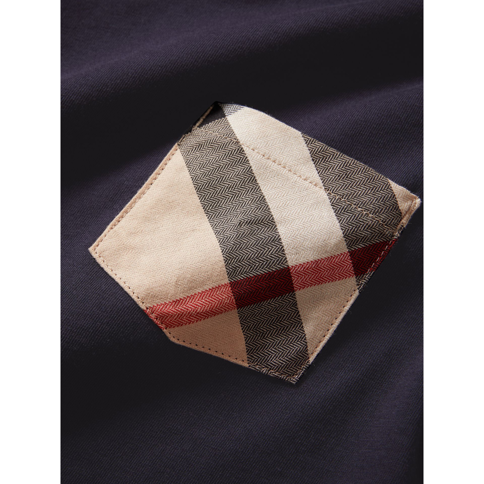 Check Pocket Cotton T-shirt in True Navy - Boy | Burberry - gallery image 1