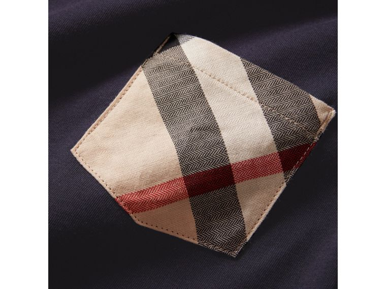 Check Pocket Cotton T-shirt in True Navy - Boy | Burberry United States - cell image 1