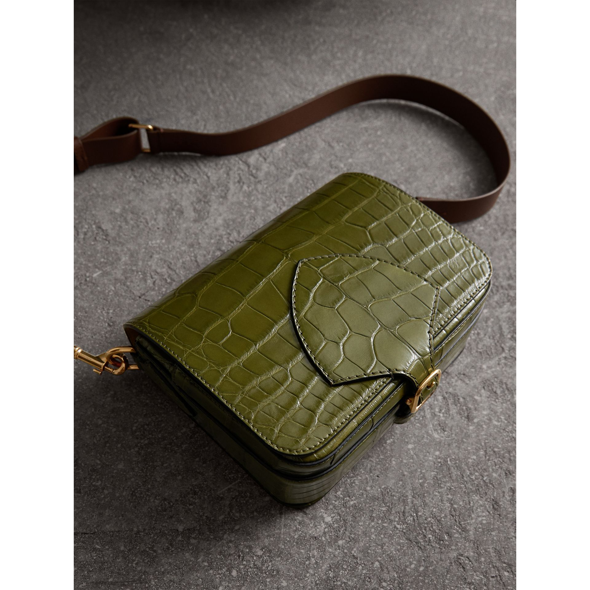 The Square Satchel in Alligator in Dark Antique Green - Women | Burberry - gallery image 6