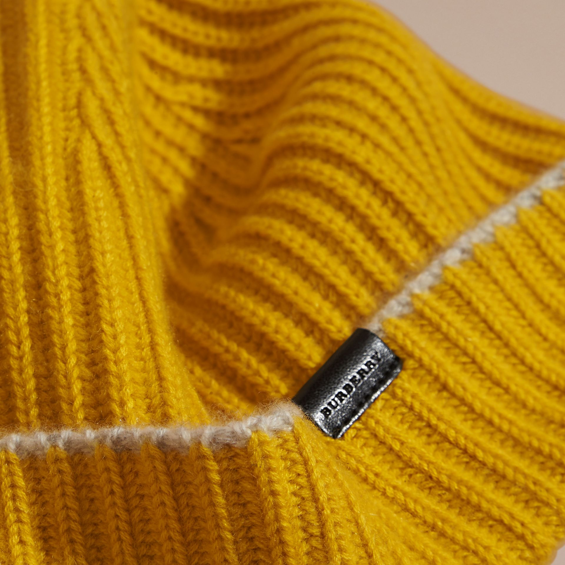 Ribbed Cashmere Beanie with Border Detail in Citrus Yellow/pale Grey - gallery image 3
