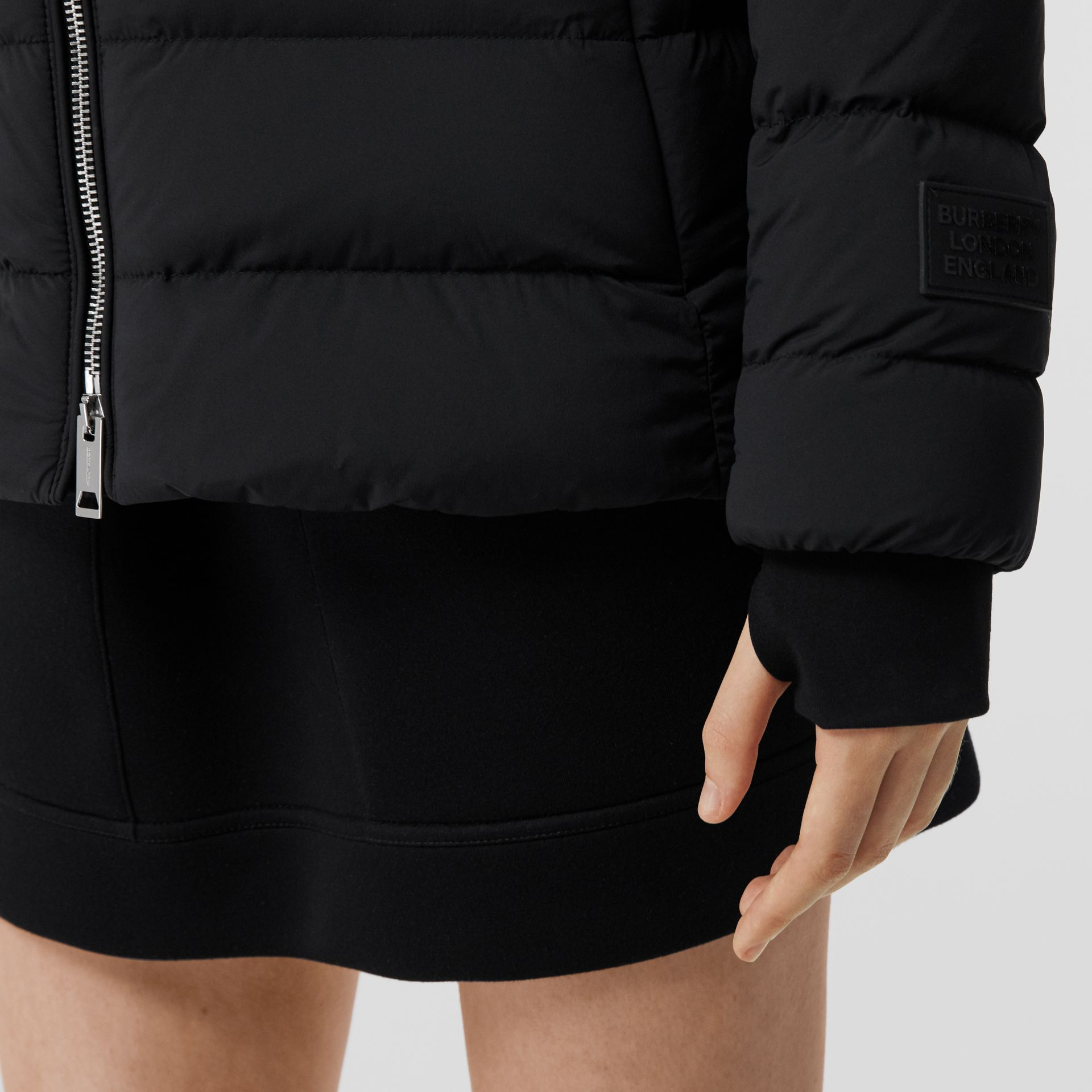 Detachable Faux Fur Trim Hooded Puffer Jacket in Black - Women | Burberry - gallery image 5