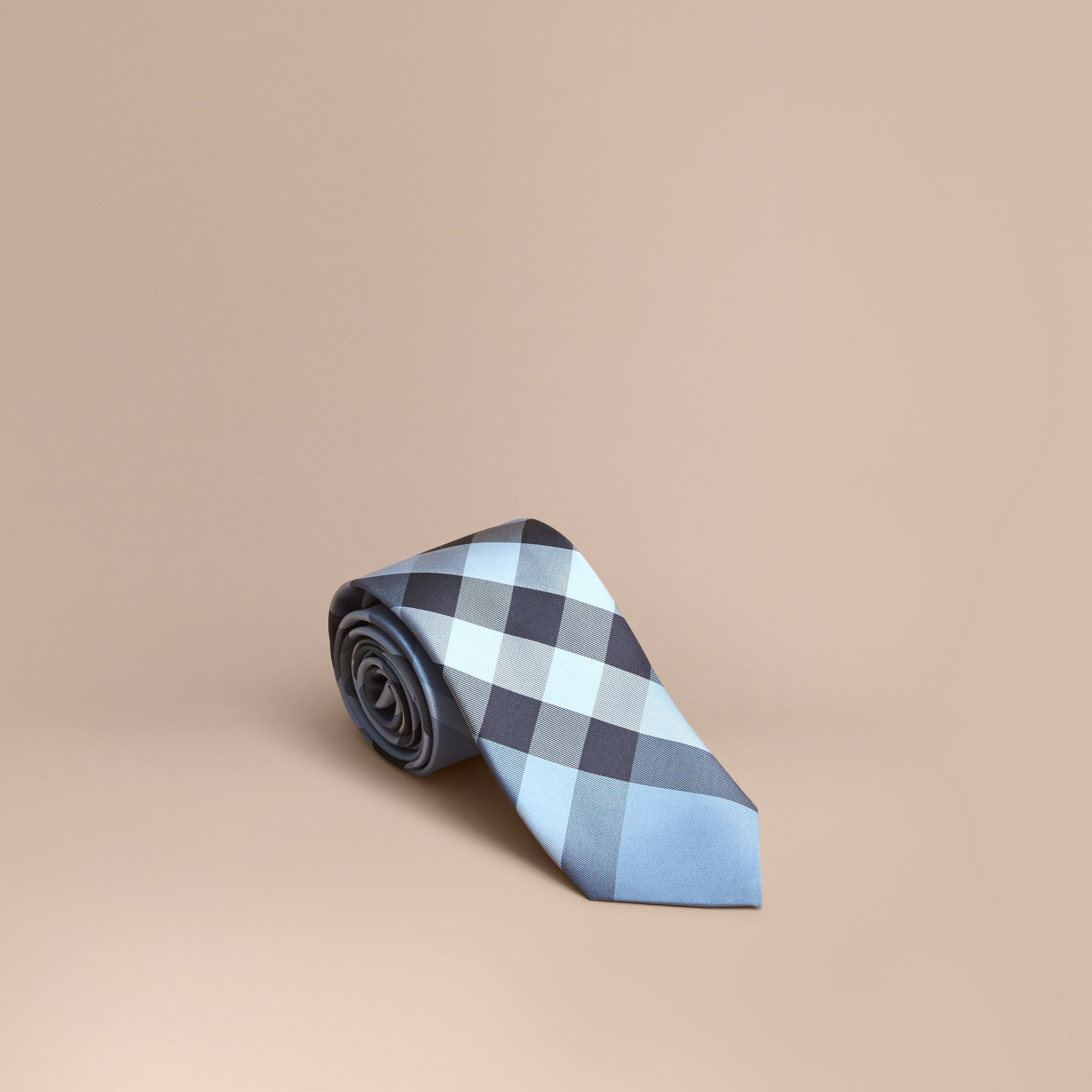Modern Cut Check Silk Tie Light Blue - gallery image 1