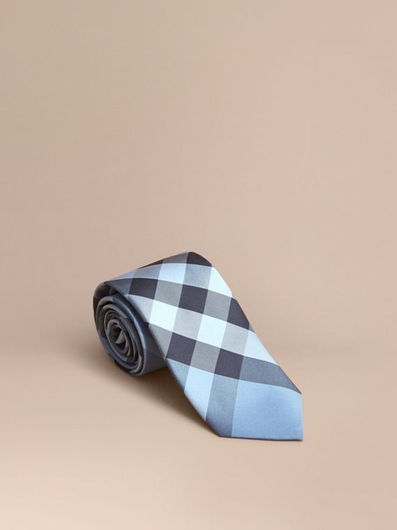 Modern Cut Check Silk Tie Light Blue