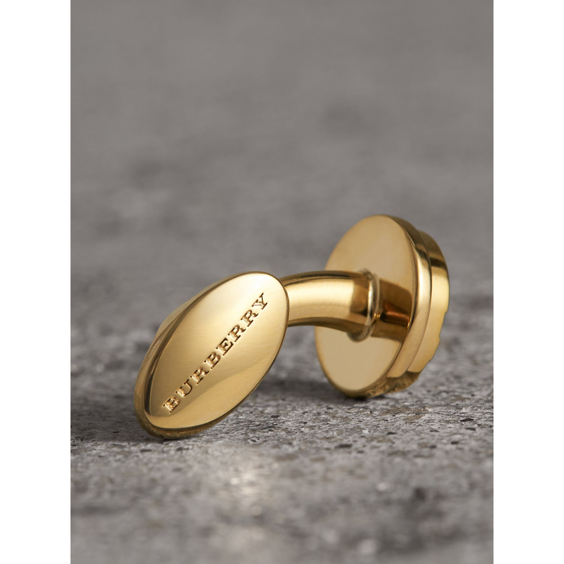 Check-engraved Round Cufflinks in Pale Gold - Men | Burberry Australia - gallery image 1