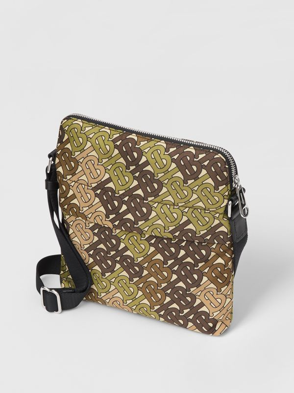 Monogram Print Nylon Crossbody Bag in Khaki Green - Men | Burberry Australia - cell image 3