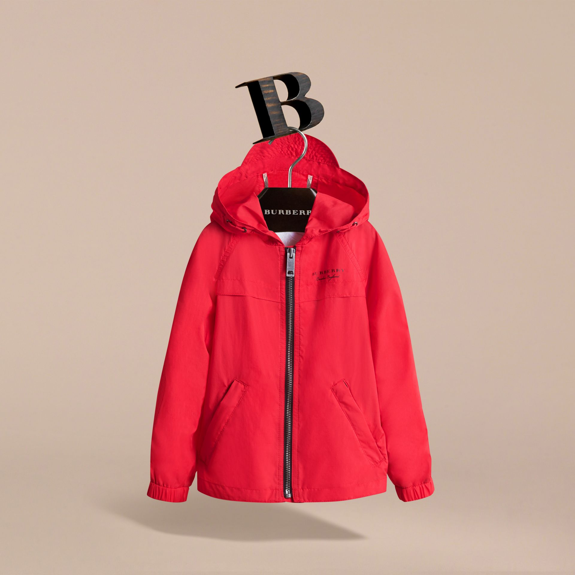 Showerproof Hooded Technical Jacket in Vibrant Red - Boy | Burberry - gallery image 3