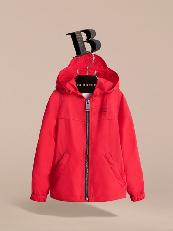 Showerproof Hooded Technical Jacket in Vibrant Red - Boy | Burberry - cell image 2