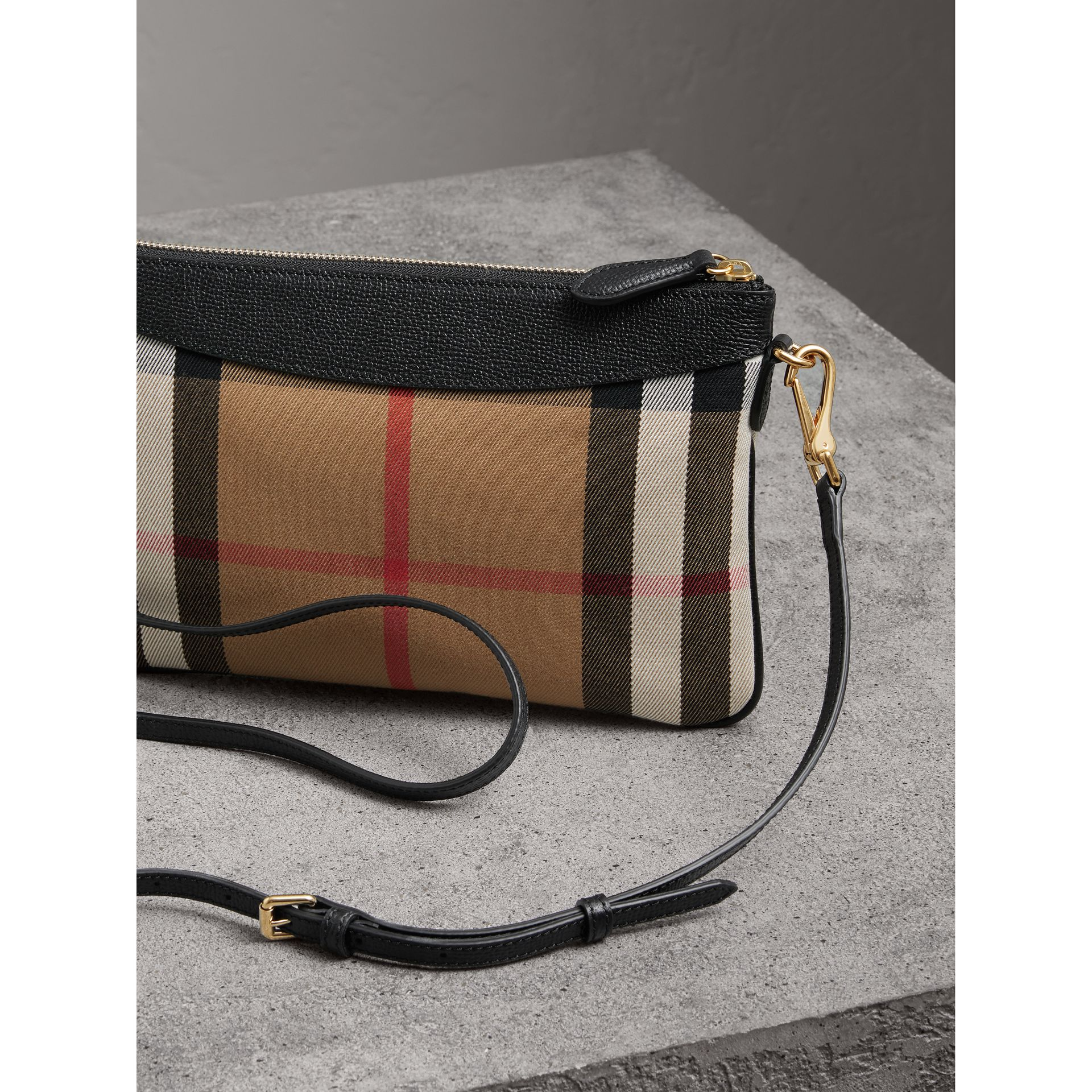 House Check and Leather Clutch Bag in Black - Women | Burberry Singapore - gallery image 3