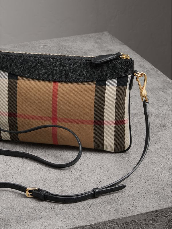 House Check and Leather Clutch Bag in Black - Women | Burberry Singapore - cell image 3