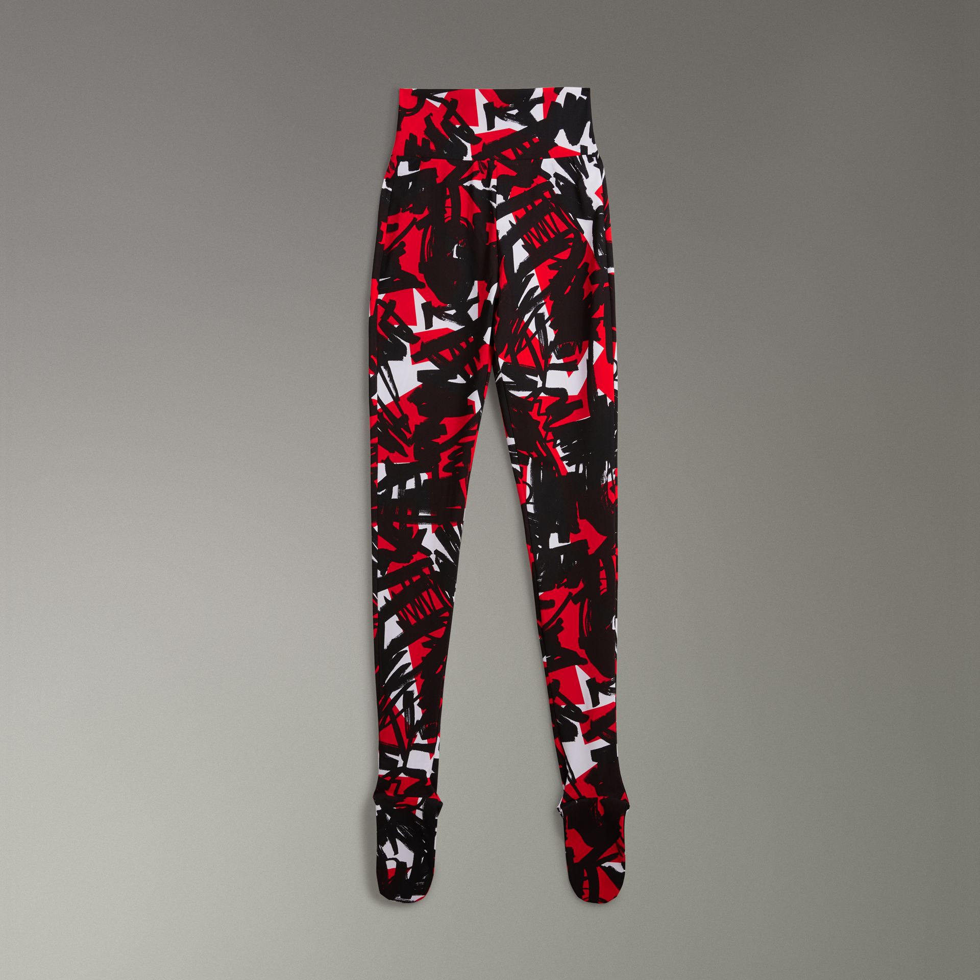 Graffiti Print Leggings in Bright Red - Women | Burberry - gallery image 3