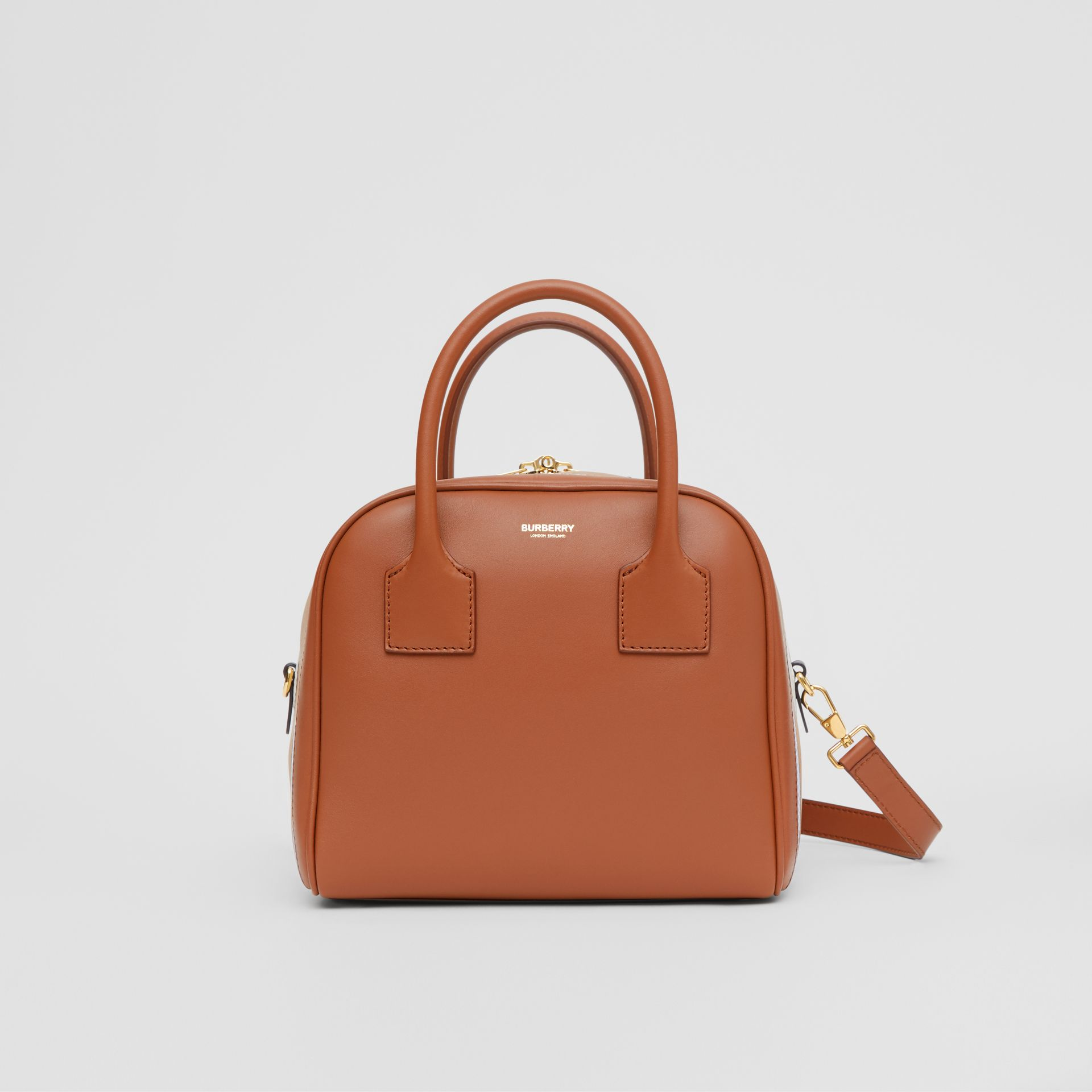 Small Stripe Intarsia Leather Cube Bag in Malt Brown/pale Blue - Women | Burberry - gallery image 0