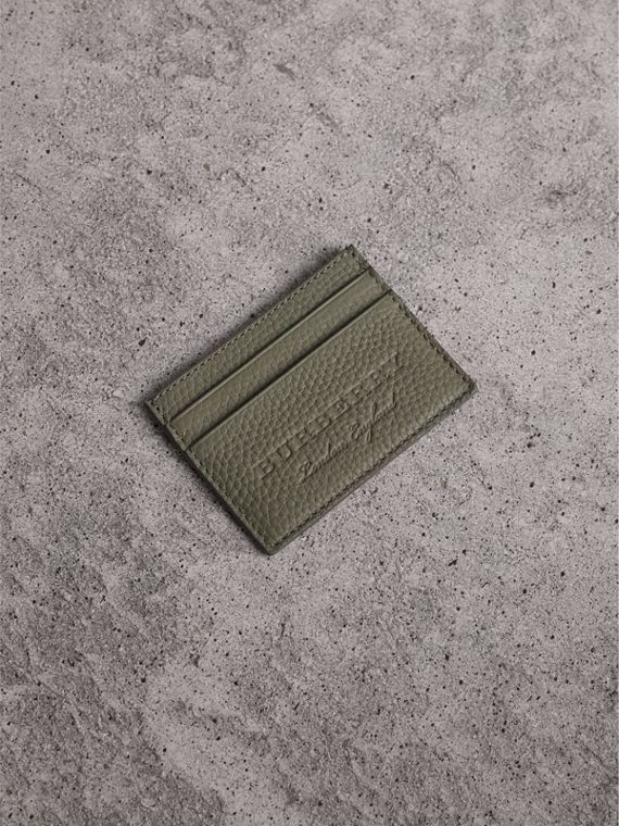 Textured Leather Card Case in Slate Green - Men | Burberry