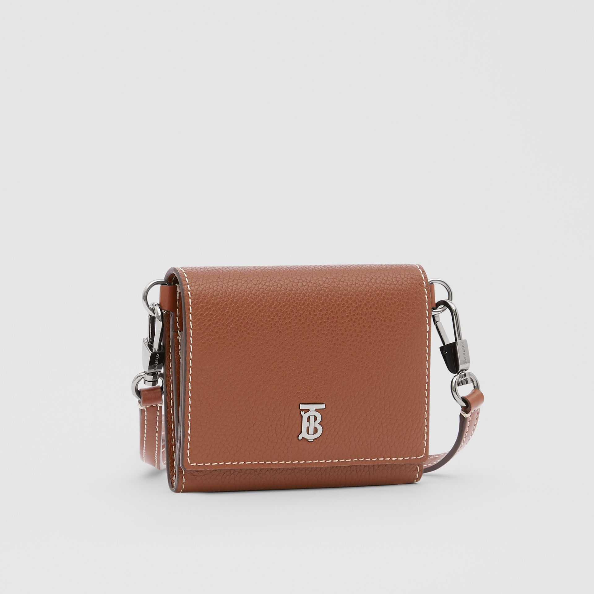 Small Grainy Leather Wallet with Detachable Strap in Tan | Burberry - gallery image 8