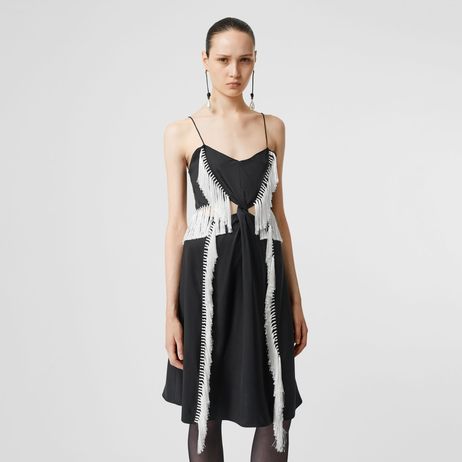 Fringe Detail Silk Satin Slip Dress in Black - Women | Burberry - gallery image 5