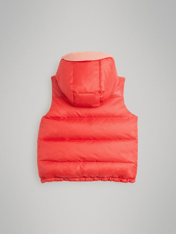 Reversible Showerproof Down-filled Hooded Gilet in Coral Pink | Burberry - cell image 3