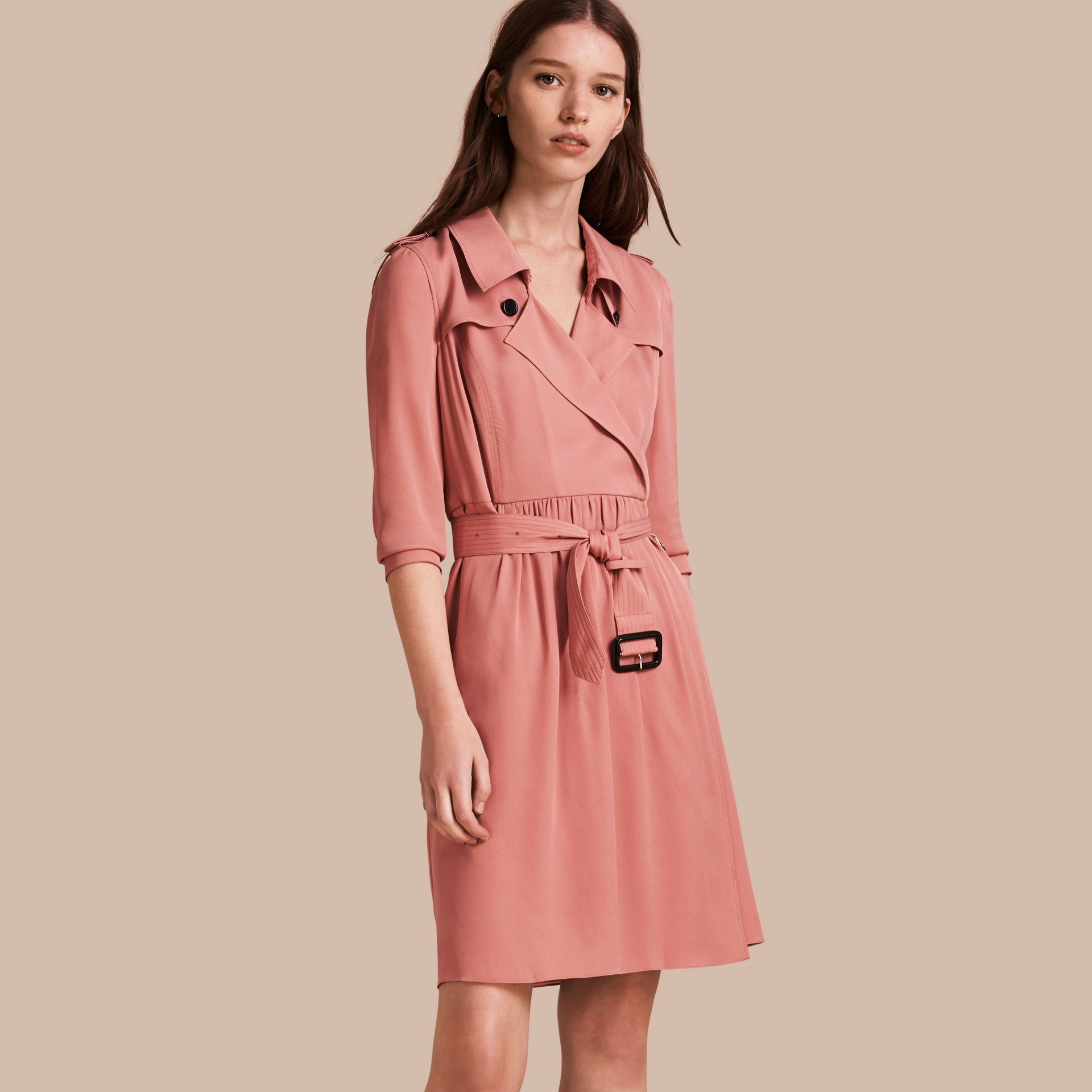 Silk Trench Dress Light Copper Pink - gallery image 1