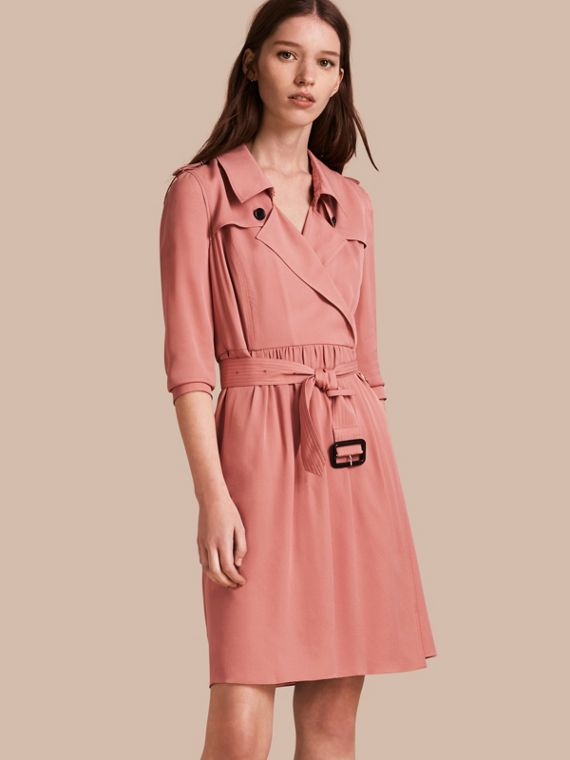 Silk Trench Dress in Light Copper Pink