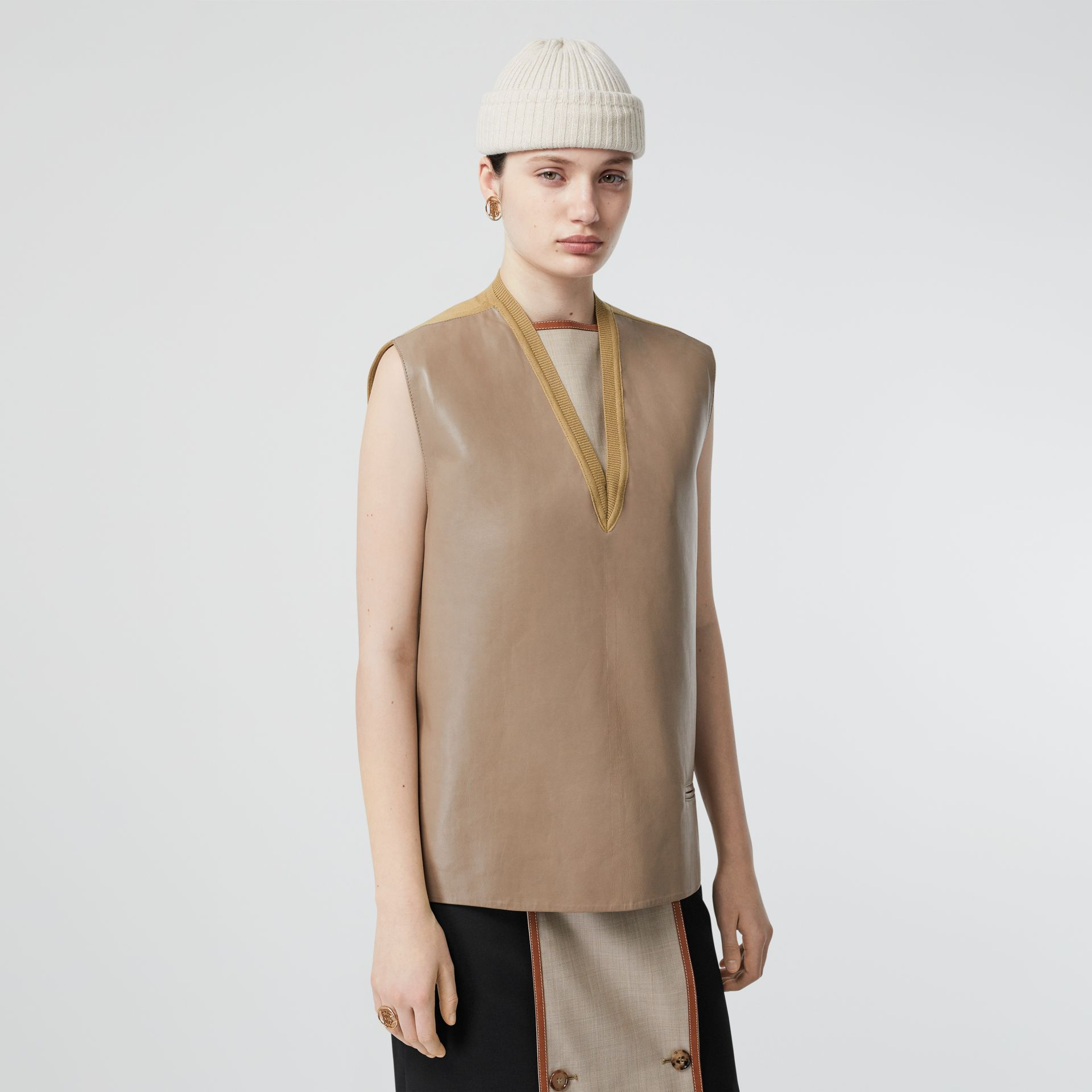 Bonded Lambskin and Wool Oversized Vest in Soft Fawn - Women | Burberry Singapore - gallery image 3