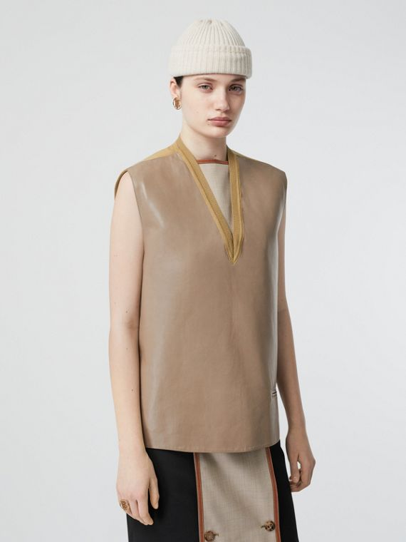 Bonded Lambskin and Wool Oversized Vest in Soft Fawn