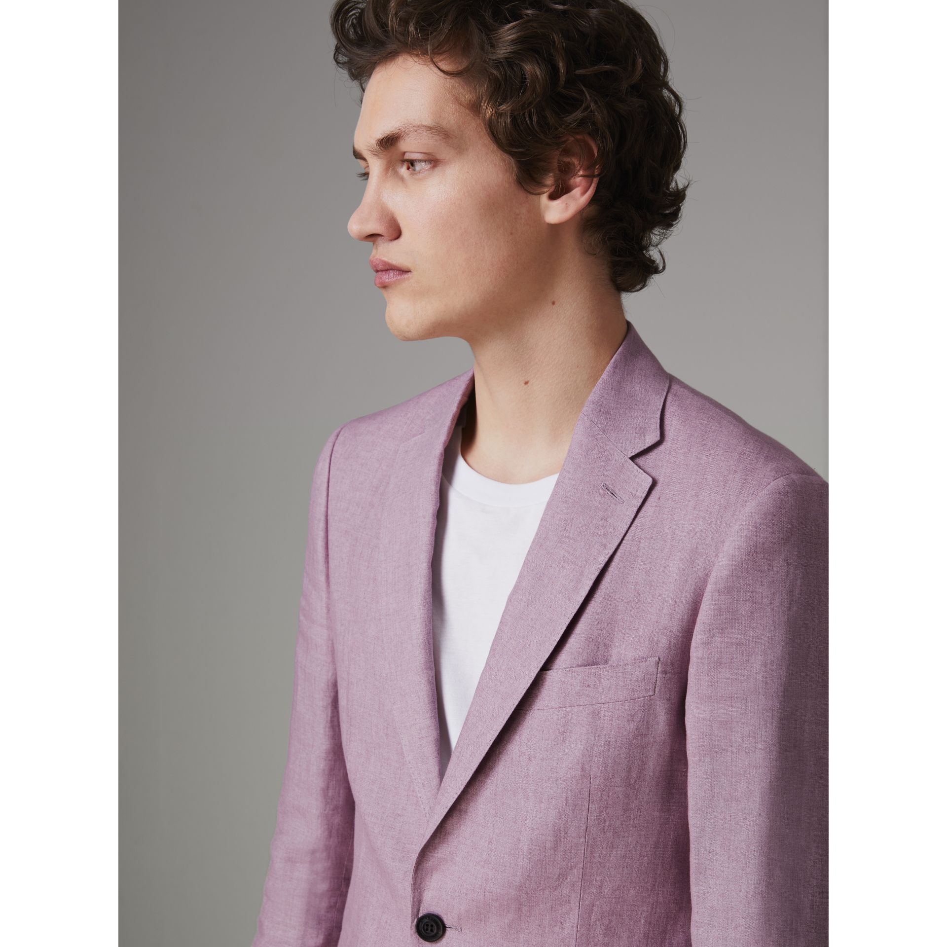 Soho Fit Linen Tailored Jacket in Pink Heather - Men | Burberry - gallery image 1