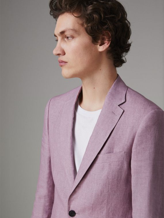 Soho Fit Linen Tailored Jacket in Pink Heather