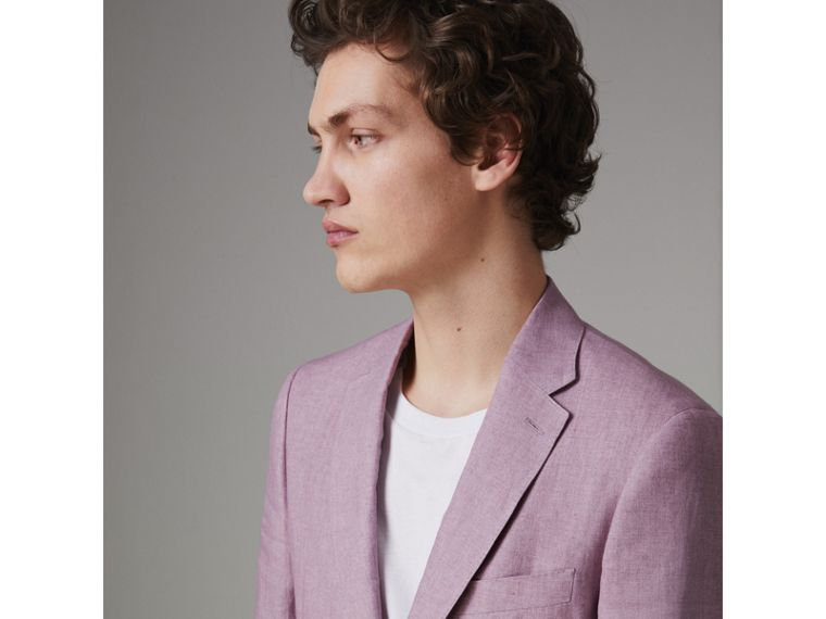 Soho Fit Linen Tailored Jacket in Pink Heather - Men | Burberry Australia - cell image 1