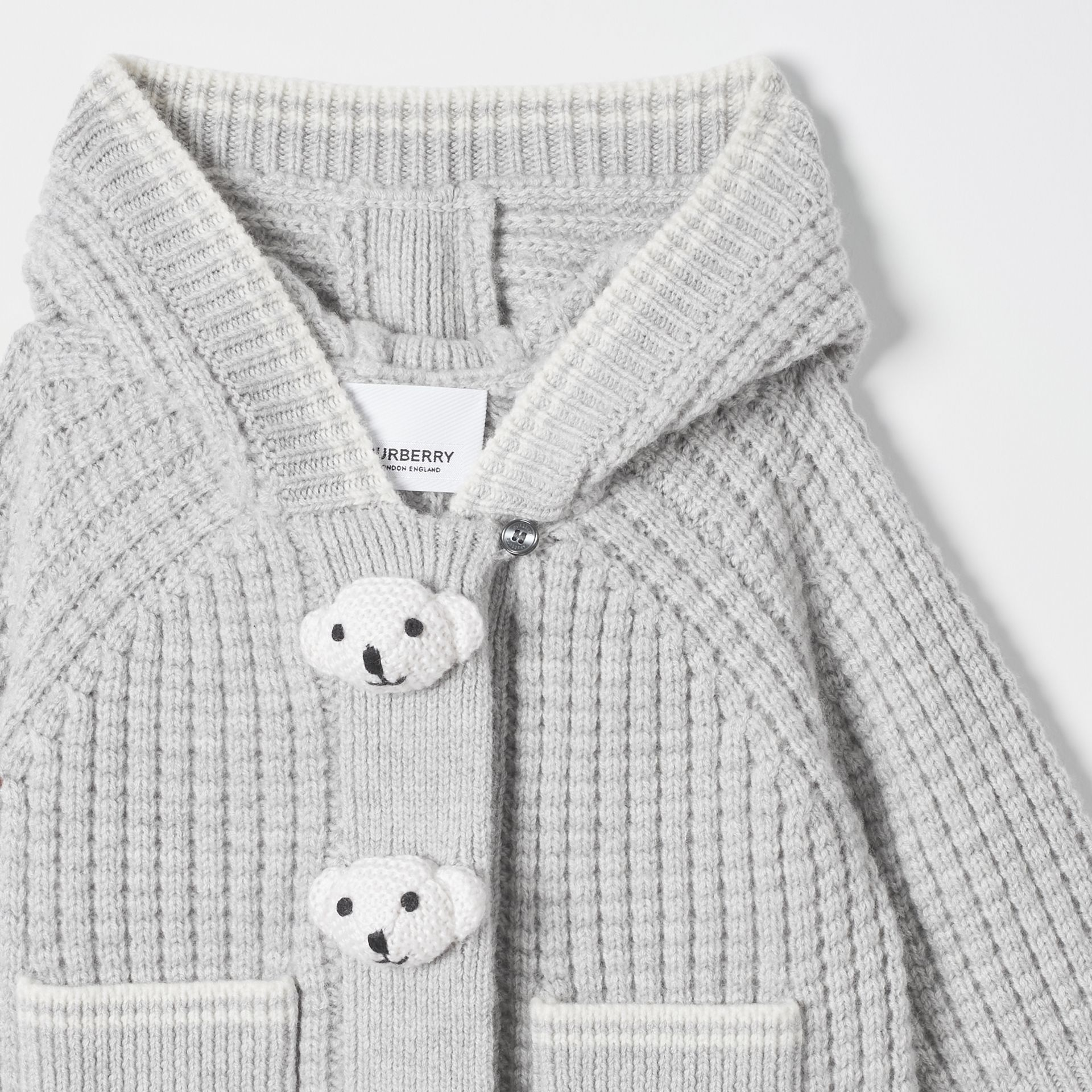Thomas Bear Detail Wool Cashmere Hooded Jacket in Pale Grey - Children | Burberry - gallery image 5