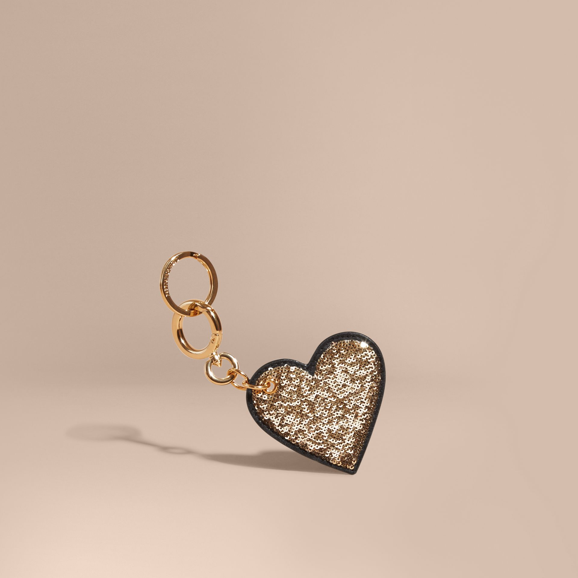 Sequinned Heart Key Charm - gallery image 1