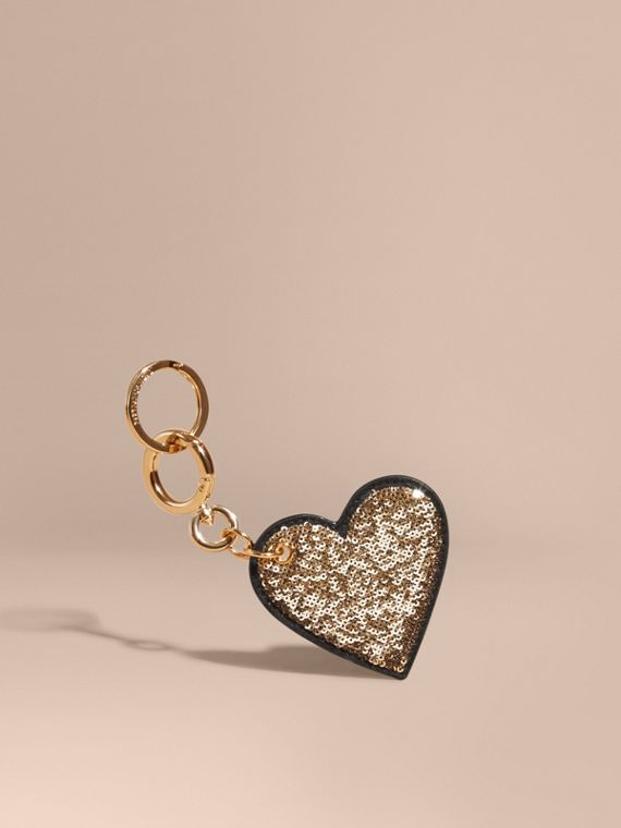Sequinned Heart Key Charm in Gold/black