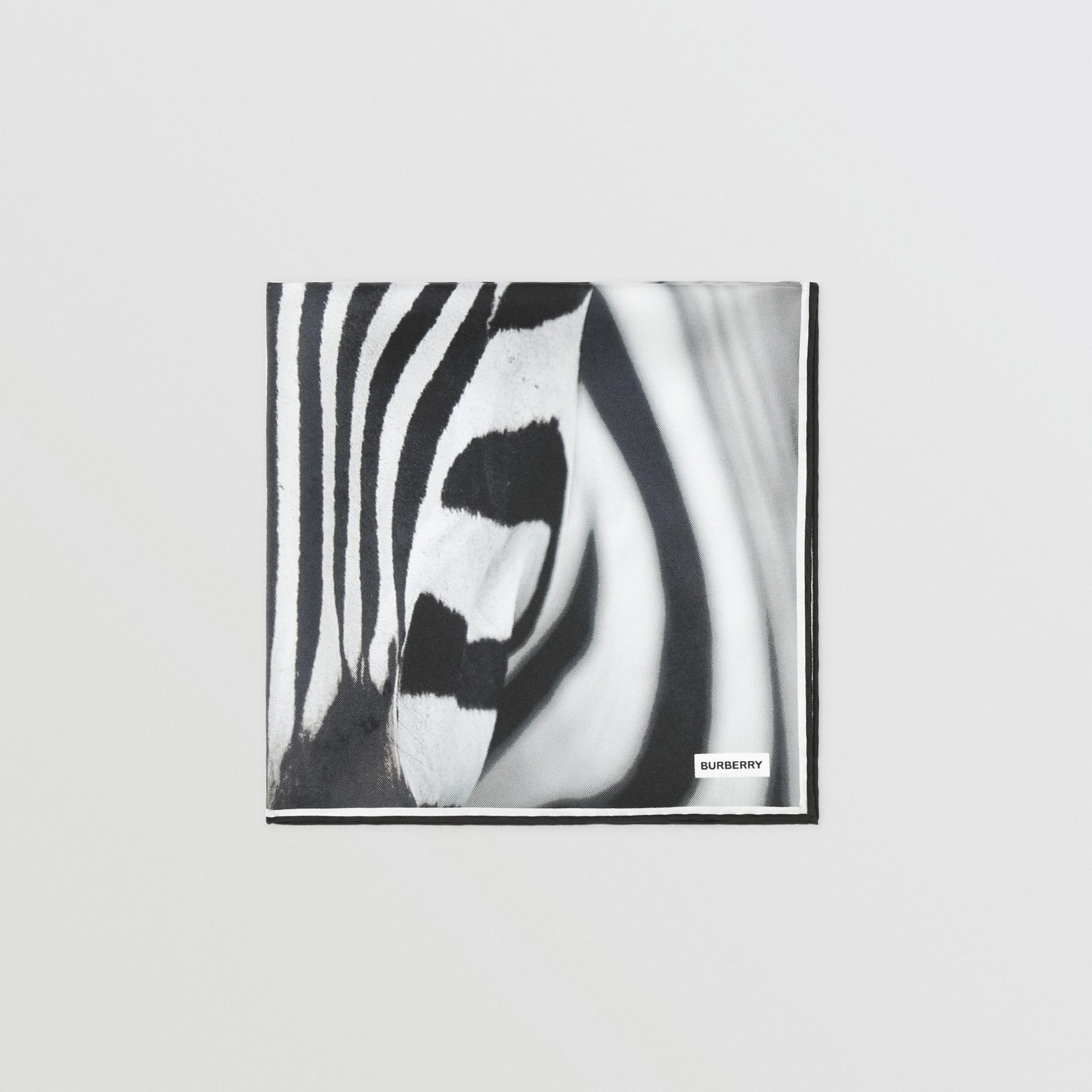 Zebra Print Silk Small Square Scarf in Monochrome | Burberry United Kingdom - gallery image 2